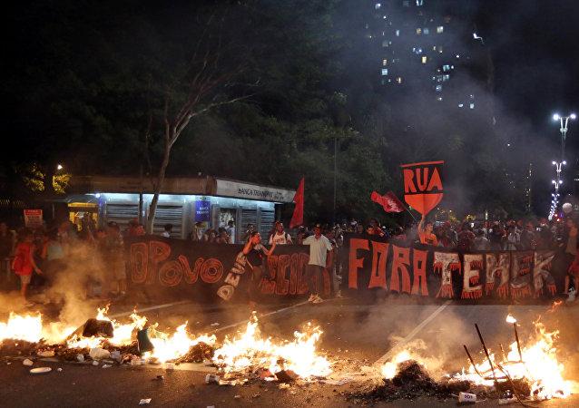 Protestas en contra de la destitución de la presidenta Dilma Rousseff en Brasil
