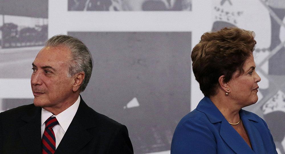 El presidente de Brasil, Michel Temer, y la expresidenta, Dilma Rousseff