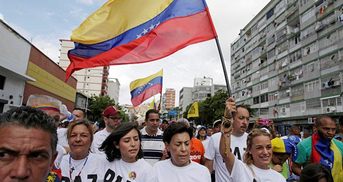Una marcha de la oposición en Caracas, Venezuela