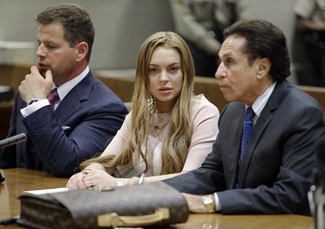 La actriz estadounidense Lindsay Lohan en un tribunal