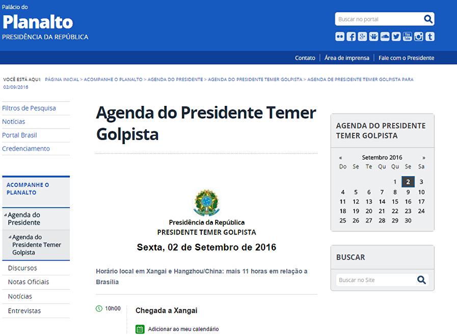 La web oficial del Gobierno de Brasil publica la 'agenda de Temer Golpista', debido a la herramienta.