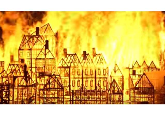 Una maqueta enorme de la capital británica en llamas