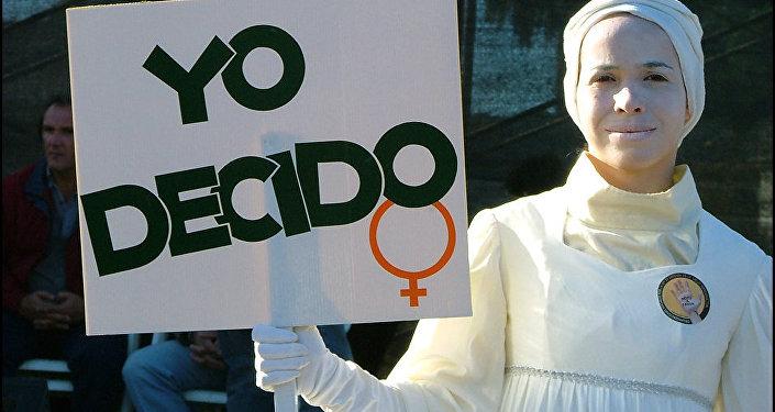 La mujer en la protesta a favor de los abortos (archivo)
