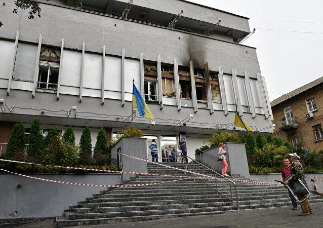 Edificio de la cadena ucraniana Inter tras el incendio