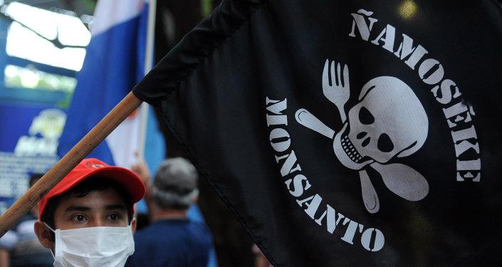 Protestan contra el uso de pesticidas por la transnacional Monsanto, 25 de Mayo de 2015, Asunción, Paraguay