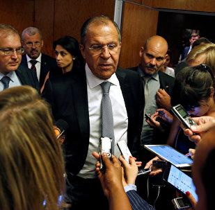 Seguéi Lavrov, ministro de Exteriores de Rusia, tras el encuentro con John Kerry