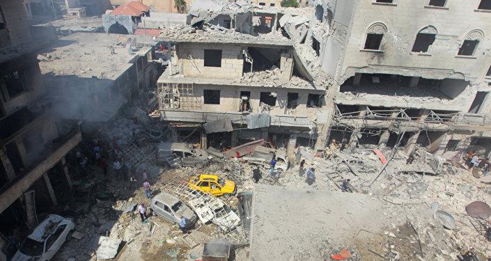 Las consecuencias del ataque aéreo en Idlib (archivo)