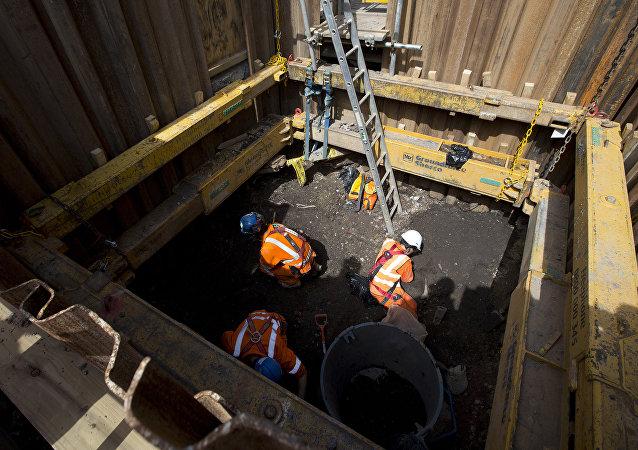 Las obras de construcción de la nueva estación del subterráneo londinense, Liverpool Street