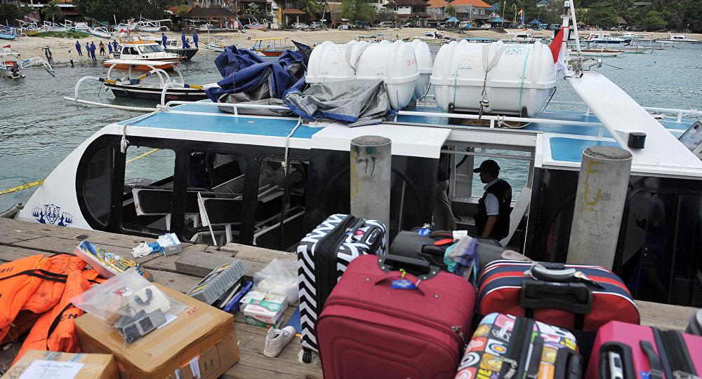 El barco en el que se produjo una explosión en Indonesia