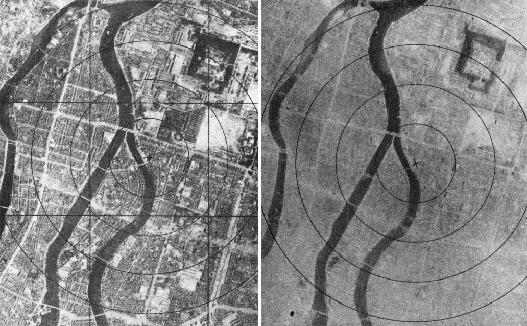 Fotografías de la ciudad de Hiroshima anterior y posterior al bombardeo, 6 de agosto de 1945.