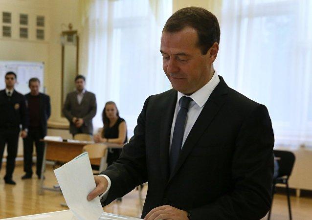 Dmitri Medvédev, primer ministro ruso y líder del partido Rusia Unida