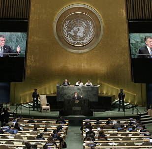 El presidente de Colombia, Juan Manuel Santos, durante su discurso en la Asamblea General de la ONU