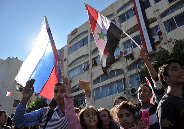 Un mitin en apoyo de la operación rusa en Siria