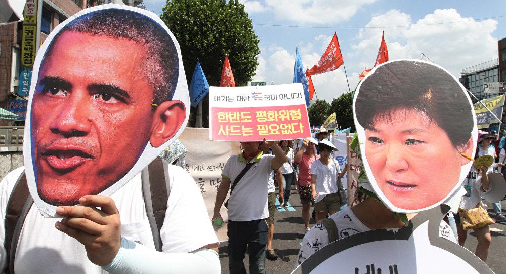 Protestas en Corea del Sur contra el despliegue del sistema THAAD