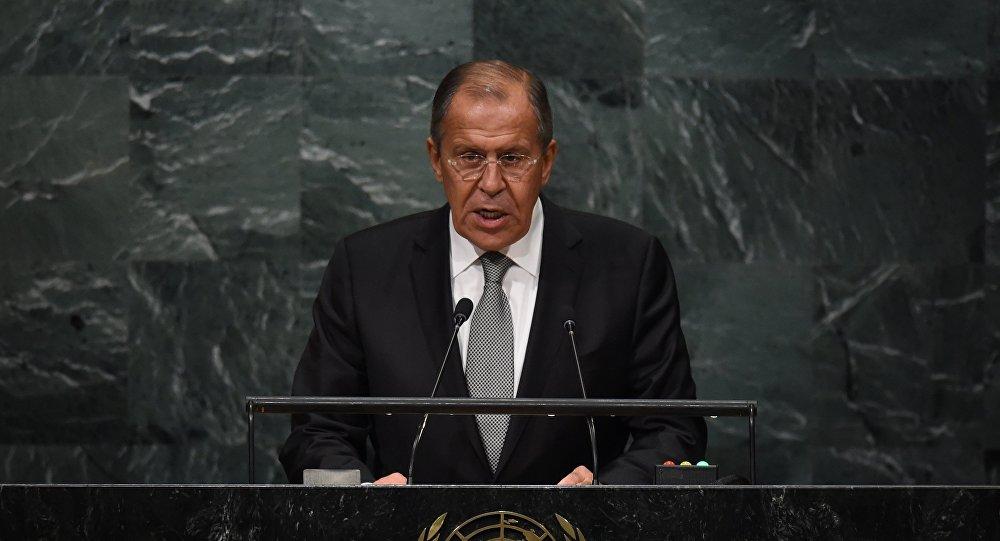 Serguéi Lavrov, ministro de Exteriores de Rusia durante el discurso en la 71 Asamblea General de la ONU