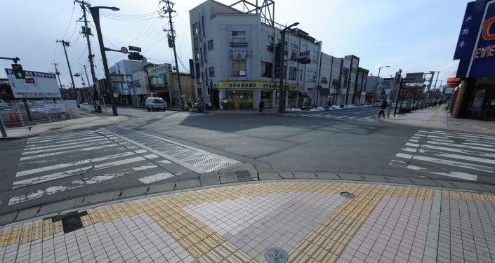 Las calles de la ciudad de Ichinoseki, Japón