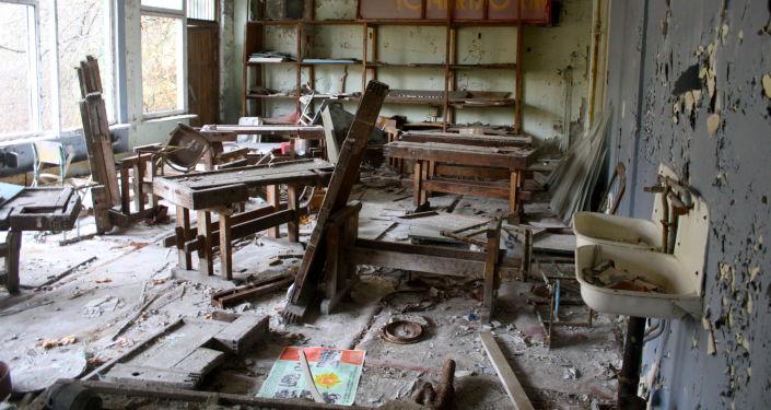 Una escuela abandonada en Chernóbil