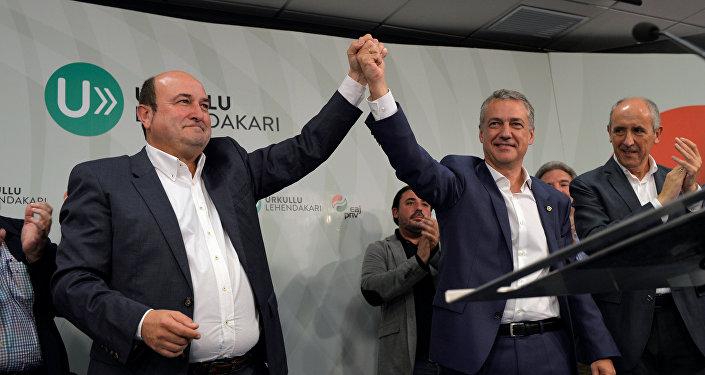 Presidente del PNV Andoni Ortuzar y candidato del PNV a la reelección Íñigo Urkullu