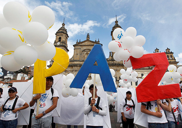 Manifestación a favor del Acuerdo de Paz en Colombia