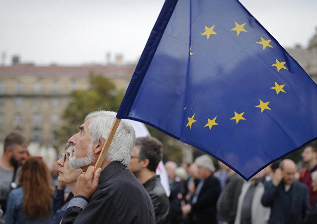 Protesta contra la política antinmigrante en Hungría, 2 de octubre de 2016