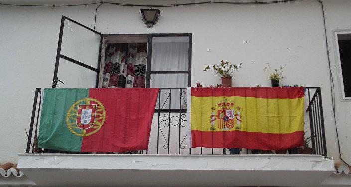 Banderas de España y Portugal