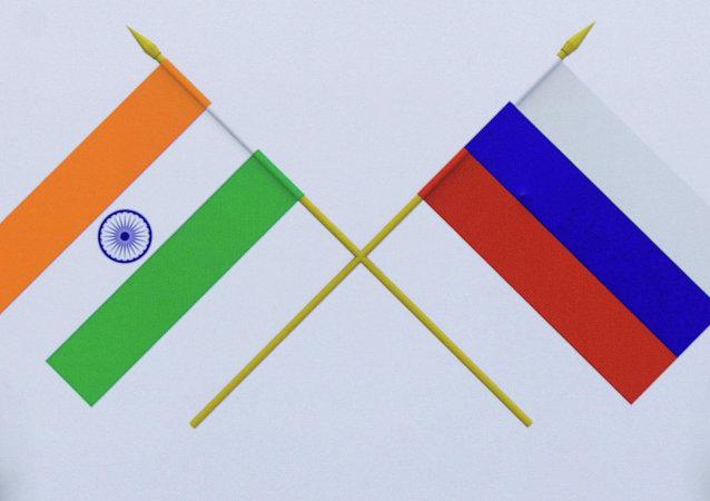 Las banderas de Rusia y la India