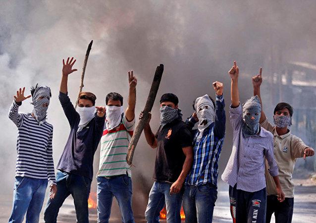 Los protestantes en Jammu y Cachemira (archivo)