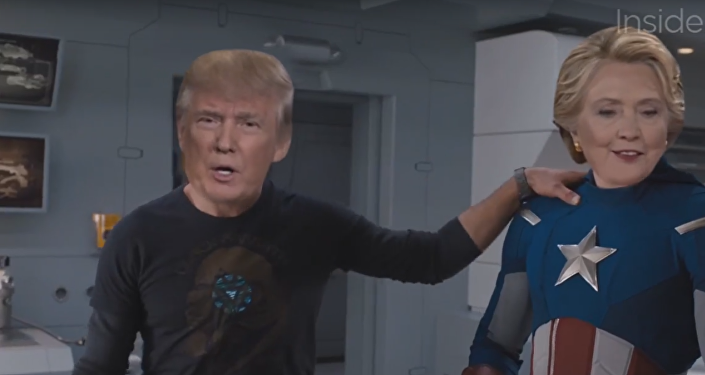 Iron Trump y Capitán Clinton en el paródico trailer para la Guerra Incivil (captura de pantalla)