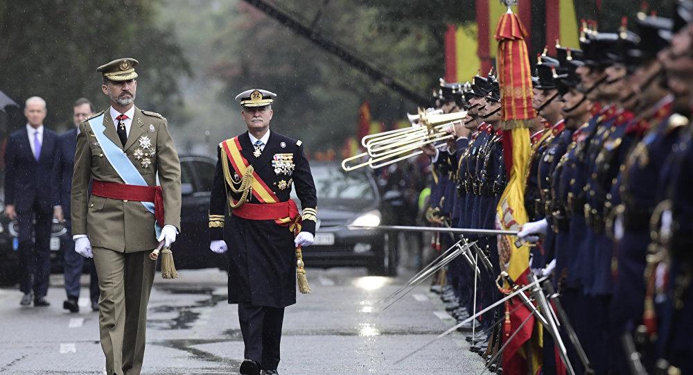 Rey de España Felipe VI durante el desfile del Día Nacional de España