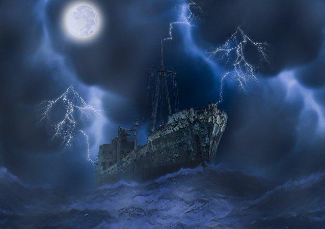 Un navío fantasma (ilustración)