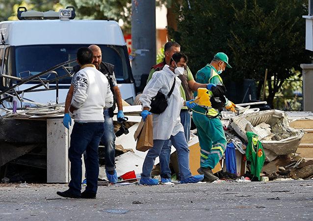 El lugar de la explosión en Gaziantep, Turquía