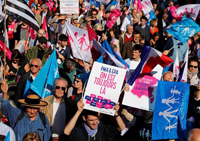 La gente ondea banderas y sostiene carteles con mensajes en la La Manif Pour Tous en París