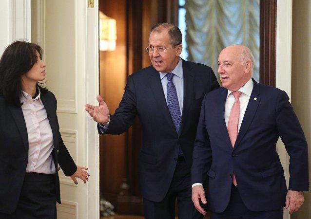 El ministro ruso de Exteriores, Serguéi Lavrov, y su par paraguayo, Eladio Loizaga Caballero