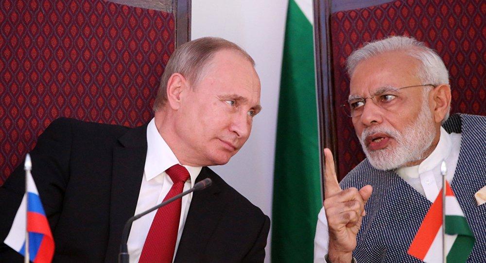 Presidente de Rusia, Vladímir Putin, y primer ministro de la India, Narendra Modi