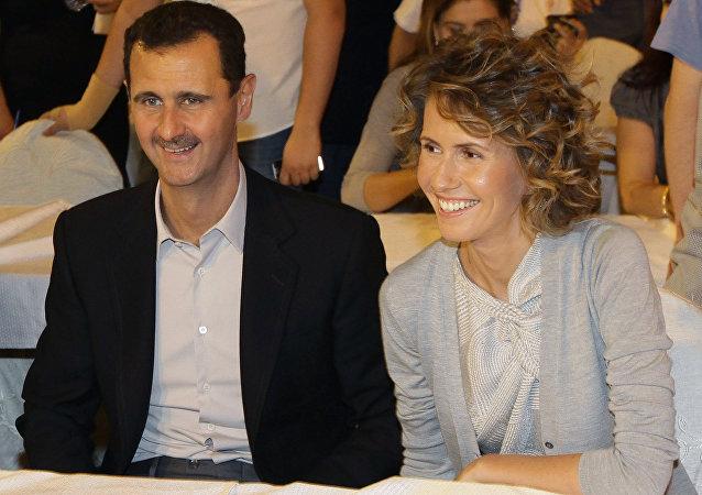 Presidente de Siria, Bashar Asad, con su esposa, Asma Asad