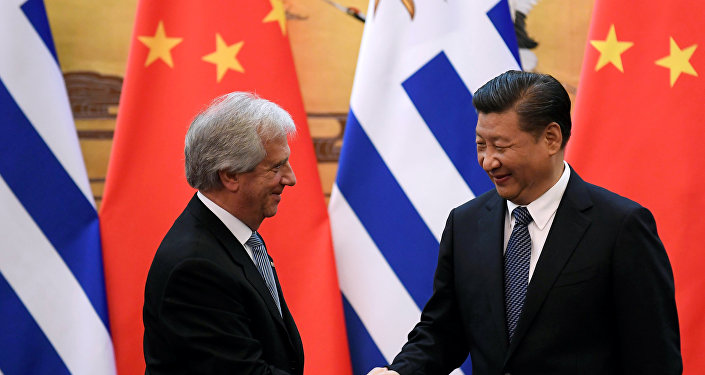 El presidente de China, Xi Jinping, y el presidente de Uruguay, Tabaré Vázquez