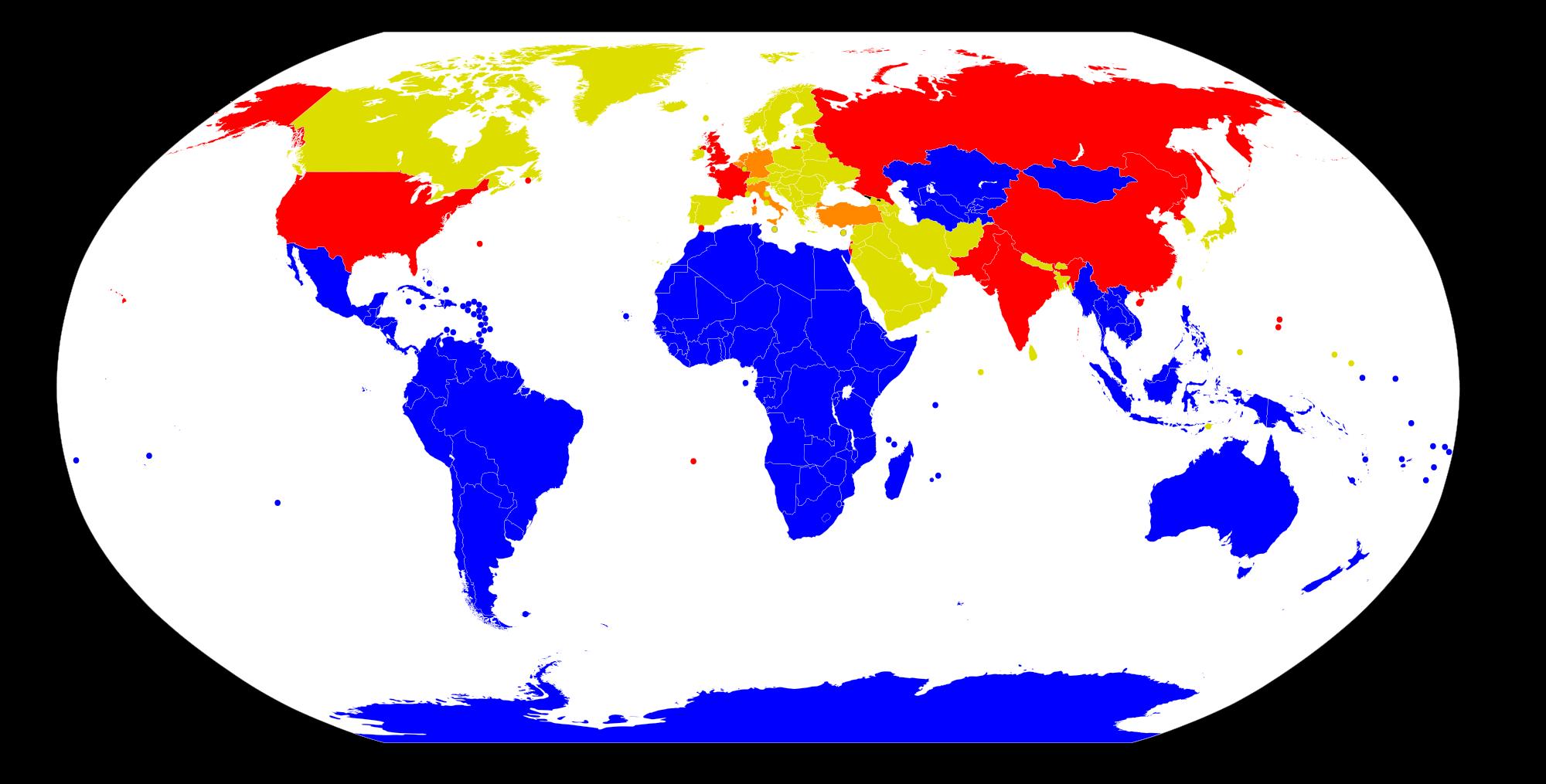 Países con armas nucleares (rojo), que alojan armas nucleares de otros países en su territorio (naranja) y libres de armas nucleares (azul)