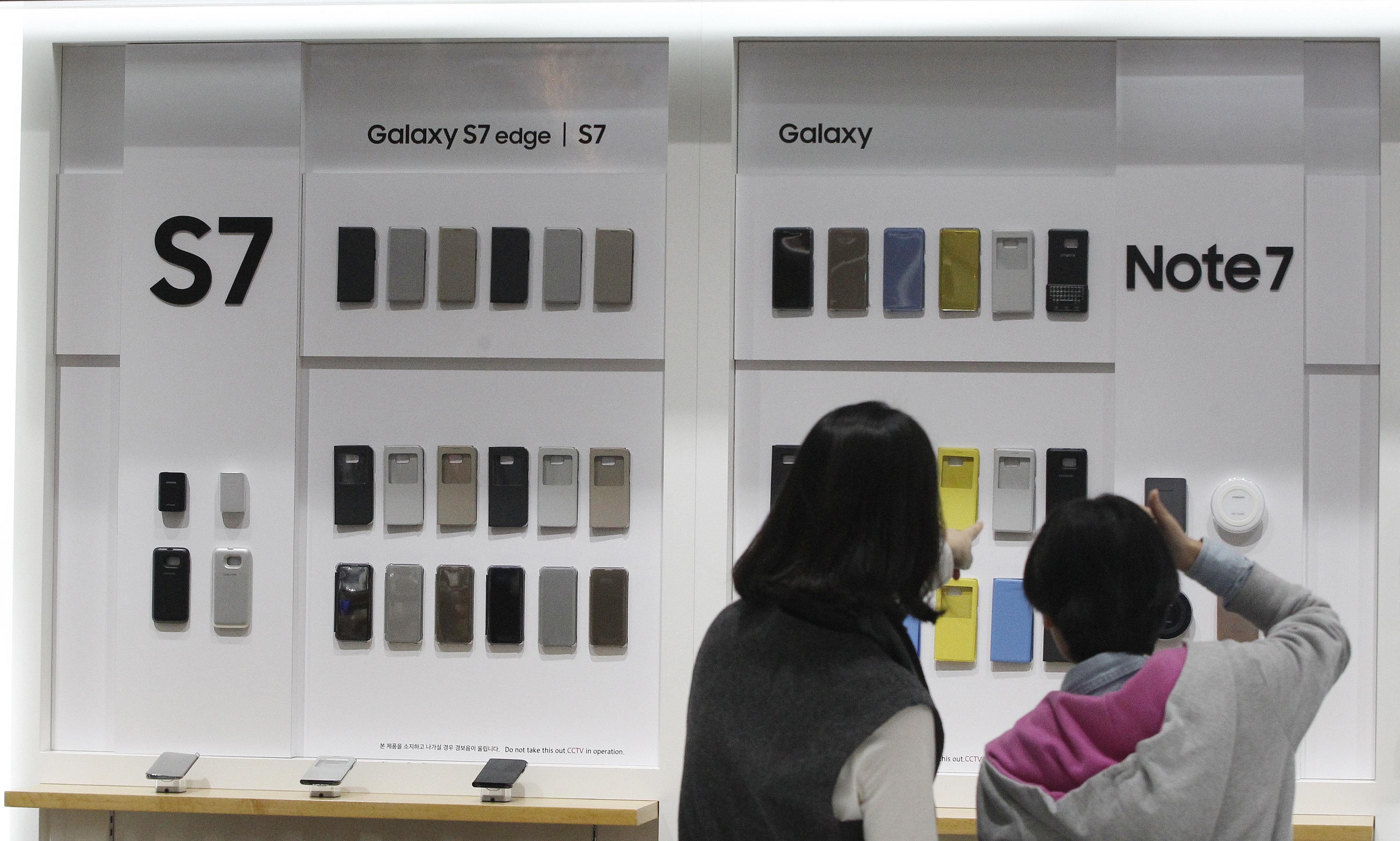 Venta de teléfonos insignias de Samsung Galalaxy S7 y Galaxy Note 7 en Corea del Sur