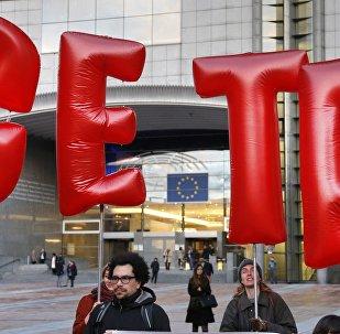 Una manifestación contra el CETA en Bruselas, Bélgica