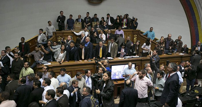 Los partidarios del presidente entraron en la Asamblea Nacional de Venezuela