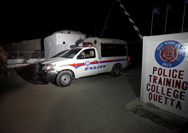 El lugar del atentado en Pakistán