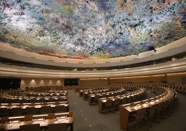 La sala del Consejo de Derechos Humanos de la ONU