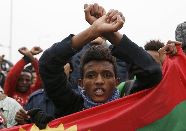 Refugiados en el campo de Calais, Francia