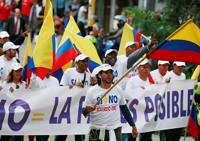 Manifestación a favor de paz con las FARC en Bogotá