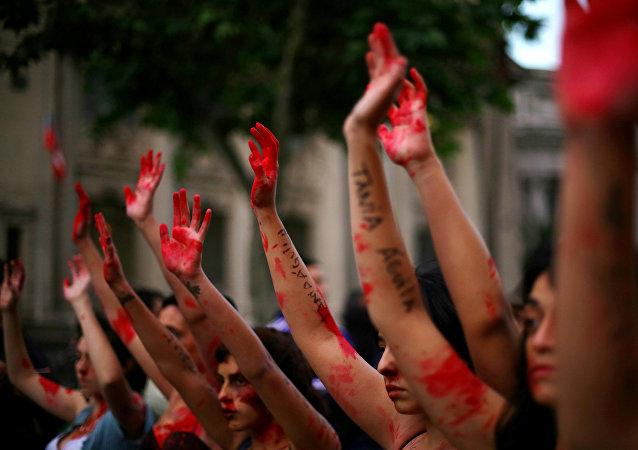 Mujeres protestan en Santiago de Chile