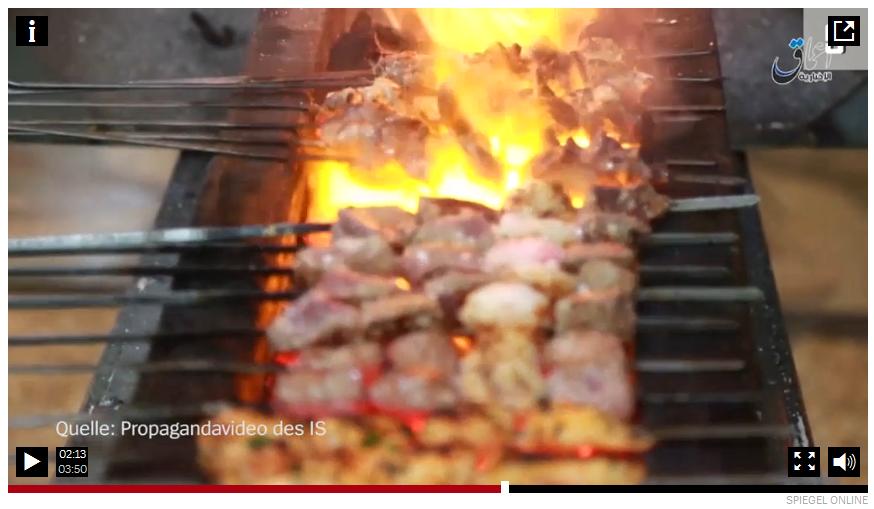 La captura de pantalla del vídeo de Spiegel sobre Mosul. El aviso de que el vídeo es la propaganda de Daesh fue añadido más tarde.