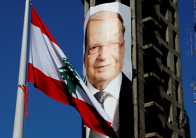 Retrato de Michel Aoun, presidente del Líbano