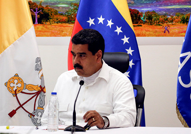 Nicolás Maduro, presidente de Venezuela, durante el encuentro con la oposición