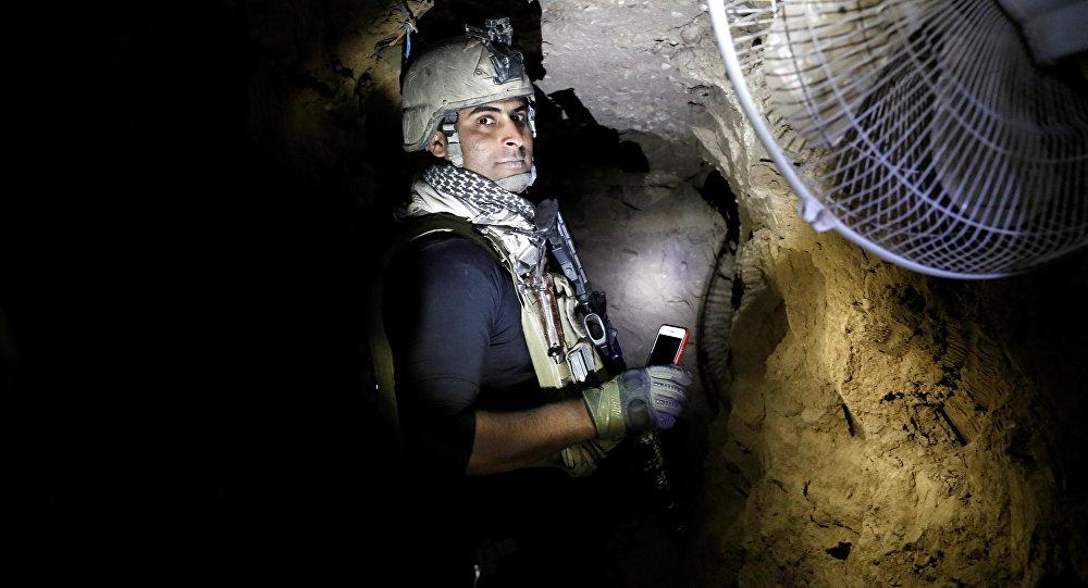El túnel del grupo terrorista Daesh al oeste de la ciudad iraquí de Mosul