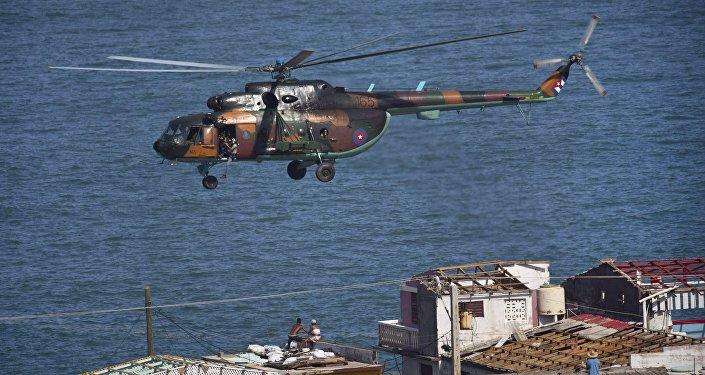 Helicóptero, Cuba. Huracán Matthew.